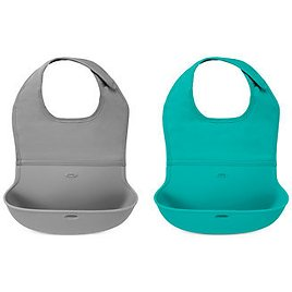 OXO Tot 2-Pack Roll Up Bib in Grey/Teal