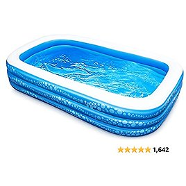 """Inflatable Swimming Pool, Hesung 118"""" X 69"""" X 21"""" Full-Sized Family Kiddie Blow Up Pool for Kids, Adults, Baby, Children, Thick Wear-Resistant Big Above Ground, Garden, Backyard Water Party for Age 3+"""