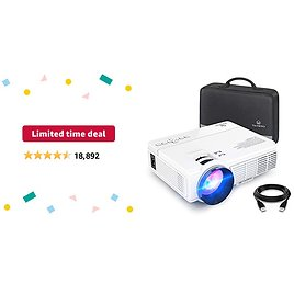 Limited-time Deal: VANKYO LEISURE 3 Mini Projector, 1080P and 170'' Display Supported, Portable Movie Projector with 40,000 Hrs LED Lamp Life, Compatible with TV Stick, PS4, HDMI, VGA, TF, AV and USB