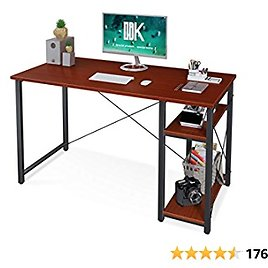 """ODK Computer Desk with Shelves, 39"""" Home Office Desk with Storage, 2 Tiers Shelves Small Study Writing Table, Modern Simple Style PC Desk, Stable Workstation, Easy to Assemble, Teak"""