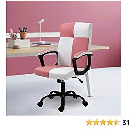Seatingplus Home Office Desk Chair, Ergonomic Adjustable Lumbar Support Computer Chair, Task Chair with Metal Base and Padded Armrests (Pink & White - Leather)