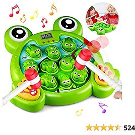 HOMOFY Interactive Whack A Frog Game, Learning, Active, Early Educational Toys for 3 4 5 6 7 8 Year Old Boys,Girls,Kids and Toddlers Fun Gifts with Music,Lights(2 Soft Hammer)