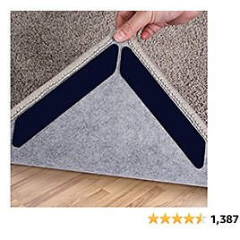 Sollifa Rug Grippers, 16 Pcs Double Sided Washable Removable Anti Curling Corner Carpet Gripper, Non Slip Renewable Adhesive Rug Tape for Hardwood Floors and Tile (Midnight Black)