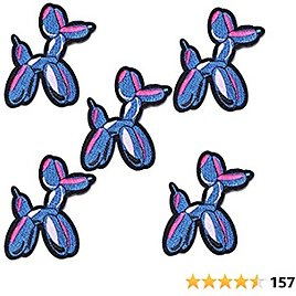 J.CARP 5Pcs Cool Vintage Balloon Dog Embroidered Iron On Patch for Clothes, Iron-on Patches / Sew-on Appliques Patches for Vest, Jackets, Backpacks, Caps, Jeans to Cover Holes / Logo