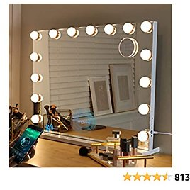 Fenair Bluetooth Makeup Mirror with Lights and Speaker Support Answer Call Hollywood Vanity Mirror, Touch Screen, 3 Color Modes Frameless Tabletop Mirror with 15 Dimmable Bulbs (White)