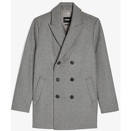 Gray Double Breasted Water-Resistant Wool-Blend Peacoat