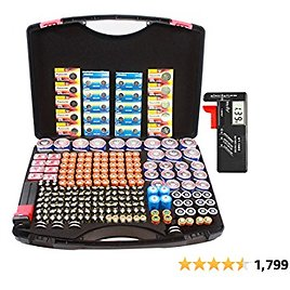 Hard Battery Organizer Sorter Storage Case with 3 Net and Digital Tester, Holding Over 250+ C, D, AA, AAA, AAAA, Button Cell, 3V SF/CR123A, 3.7V 18650, 6V 4LR44, 9V, 12V A23 Batteries.(no Batteries)