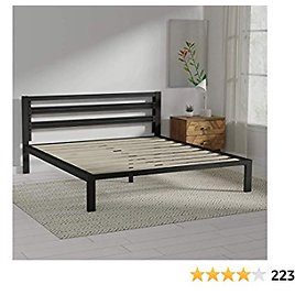 Amazon Basics Metal Bed with Modern Industrial Design Headboard - 14 Inch Height for Under-Bed Storage - Wood Slats - Easy Assemble, King