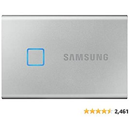 SAMSUNG T7 Touch Portable SSD 500GB - Up to 1050MB/s - USB 3.2 External Solid State Drive, Silver (MU-PC500S/WW)