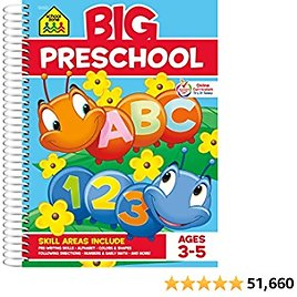 School Zone - Big Preschool Workbook - Ages 3 to 5, Colors, Shapes, Numbers 1-10, Early Math, Alphabet, Pre-Writing, Phonics, Following Directions, and More (Big Spiral Bound Workbooks)