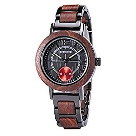 Wooden Watches for Women Casual Fashion Wood & Metal Strap Adjustable Simple Style Quartz Movement Handmade Round Wood Wristwatches