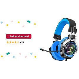 Limited-time Deal: BENGOO G9200 Gaming Headset Headphones for Xbox One PS4 PC Controller, 4 Speaker Drivers Over Ear Headphones with Microphone, LED Light, Bass Surround Soft Memory Earmuffs for Sony PSP Nintendo 64 PS5