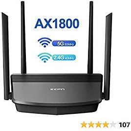 ECPN WiFi Router AX1800 Smart WiFi 6 Router, Computer Router, Wireless Router, AX Router, Gigabit Router with Dual-Band, US BROADCOM Processor Offer Speedy Stream for Large Home