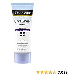 Neutrogena Ultra Sheer Dry-Touch Sunscreen Lotion, Broad Spectrum UVA/UVB Protection, Oxybenzone-Free, Light, Water Resistant, Non-Comedogenic & Non-Greasy, Travel Size, SPF 55, 3 Fl Oz