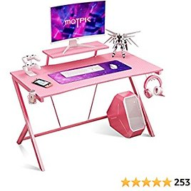 """Gaming Desk 40"""" with Monitor Shelf Gaming Table Home Computer Desk with Cup Holder and Headphone Hook Gamer Workstation Game Table, Pink"""
