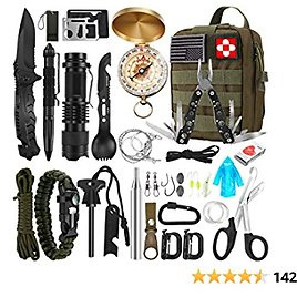 Survival Kit, 32 in 1 Professional Emergency Survival Gear Equipment Tools First Aid Supplies with Molle Pouch Gifts Ideas for Men Families SOS Tactical Hiking Hunting Disaster (Green)