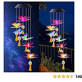 """LED Solar Hummingbird Wind Chime, 25"""" Mobile Hanging Wind Chime for Home Garden Decoration, Automatic Light Changing Color"""