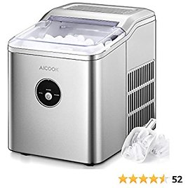 AICOOK Ice Maker Countertop, 28 Lbs. Ice in 24 Hrs, 9 Ice Cubes Ready in 5 Minutes, Portable Ice Maker Machine 2L with LED Display Perfect for Parties Mixed Drinks, Ice Scoop and Basket (Silver)