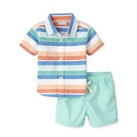 Baby Boys Striped Chambray Outfit Set