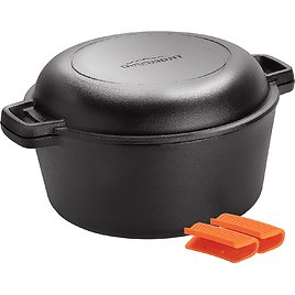 Overmont Dutch Oven 5 QT Cast Iron Casserole Pot + 1.6 QT Skillet Lid Pre Seasoned with Handle Covers & Stand for Camping Home Cooking BBQ Baking