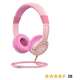 Kids Wired Headphones, AUSDOM K1 On Ear Headphone for Children with Music Sharing Function, 85dB Volume Limit and Hearing Protection, Adjustable Headband and Lightweight Design for Boys Girls, Pink