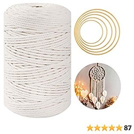Macrame Cord 3mm X 220 Yards, 100% Natural Macrame Rope - 4 Stands, Macrame Supplies with Metal Hoops for Wall Hanging, Plant Hangers, Crafts, Knitting, Decorative Projects