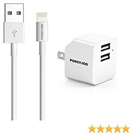 USB Wall Charger, POWERADD IPhone Charger Cable 6.6ft Fast Wall Charger Dual Port Plug Adapter Data Sync Transfer Cord Compatible with IPhone 12 Mini SE 11 Pro XS XR X 8 7 IPad