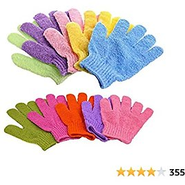 Bath Gloves, 5 Pairs Exfoliating Gloves for Shower Face Body Spa(5 Color)