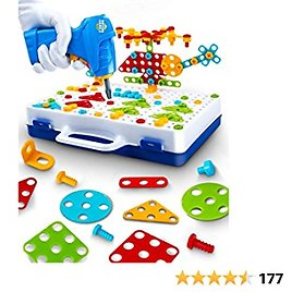 UNIH Kids Drill Set Toys for 3 4 5 Year Old Boys Girls, Building Educational Stem Puzzle Toys Learning Toy for Kids Gift (237 Pcs)