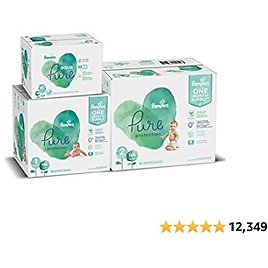 Pampers Pure Protection Disposable Baby Diapers Starter Kit (2 Month Supply), Sizes 1 (198 Count) & 2 (186 Count) with Aqua Pure Baby Wipes, 10X Pop-Top Packs (560 Count)