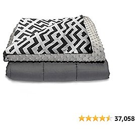 """Quility Weighted Blanket for Adults - King Size, 86""""x92"""", 25 Lbs - Heavy Heating Blankets for Restlessness - Grey, Black & White Print Cover"""