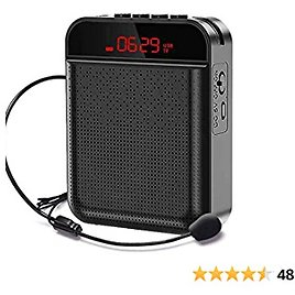 Voice Amplifier Portable Bluetooth 4000mAh Rechargeable Speaker for Classroom, Meetings and Outdoors (Black)
