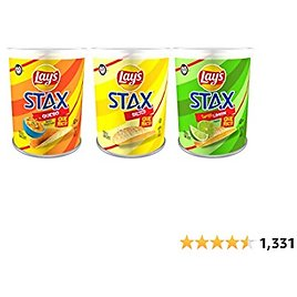 Lay's Stax Potato Crisps, 3 Flavor Variety Pack, 2oz Mini Canisters (9 Pack)