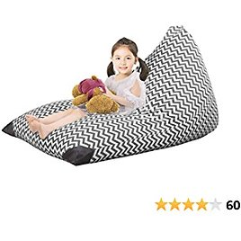 ABFace Stuffed Animal Storage Bean Bag Chair for Kids, Extra Large Bean Bag for Organizing Kids Room, Stuffie Seat with Premium Canvas, Bean Bag Cover - 200L/52 Gal, Chevron Grey