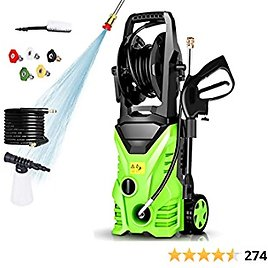 Homdox 2950PSI Pressure Washer 1.7GPM 1800W Cleaner Machine with Power Nozzle Gun,Soap Tank,Metal Screwdriver for Water Pipe Connection (Medium, Green)