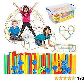 Straw Constructor Building Toy 1000 Pcs for Kids Age 3-12, Stem Activities Straws and Connectors Educational Building Set, Fort Building Kit for Indoor & Outdoor, Gift for Boys and Girls Classroom