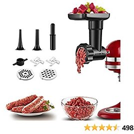 Meat Grinder Attachment for Kitchenaid Stand Mixers, Cofun Food Grinder Accessory Including 2 Grind Plates, 2 Sausage Sausage Stuffer Tubes, 2 Grinding Blades and Cleaning Brush for KitchenAid (Black)