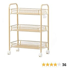 KING GLOBAL 3-Tier Mesh Wire Rolling Cart with Wheels & 4 Side Hooks Metal Storage Shelves for Home, Office, Kitchen, Bathroom, Bedroom