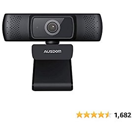 Autofocus 1080P Webcam with Privacy Cover, AUSDOM AF640 Full HD Business Web Camera with Dual Noise Reduction Microphones, 90° Wide-Angle View for Desktop/Laptop/Mac, Work with Skype/Twitch/Lync/WebEx