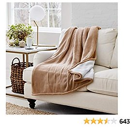Eddie Bauer | Smart Heated Electric Throw Blanket - Reversible Sherpa - Hands Free Control - Wi-Fi Only (2.4GHz) - Compatible with Alexa, Google, IOS, Android - Khaki