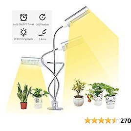 LED Grow Light for Indoor Plants,ERAVSOW Full Spectrum Growing Lamp with Timer,Tri Head Plant Grow Lamps with Adjustable Gooseneck & Desk Clip On,3 Switch Modes 10 Brightness Settings …