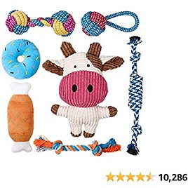 Toozey Puppy Toys for Small Dogs, 7 Pack Small Dog Toys, Cute Calf Squeaky Dog Toys, Durable Puppy Teething Toys, Ropes Puppy Chew Toys, Non-Toxic and Safe