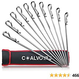 COALVOYAJ 17 Inch Flat Metal Skewers for Grilling and BBQ – Pack of 10 Stainless Steel 430 Grade Kabob Skewers with Storage Bag
