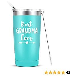 Grandma Mug Tumbler Birthday Christmas Anniversary for Grandma Vacuum Insulated Stainless Steel Cup with Straw and Lid 20-Ounce Mint