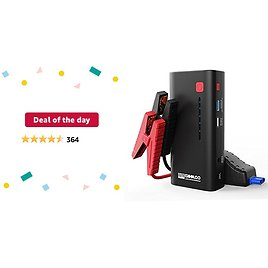 SuperSafe Car Jump Starter - 1200A Peak 18000mAh (Up to 7.0L Gas or 5.5L Diesel Engine) with USB Quick Charge, 12V.