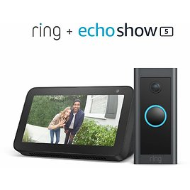 Ring Video Doorbell Wired Bundle with Echo Show 5 - Black