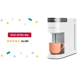 Deal of The Day for Prime Members: Keurig K-Slim Coffee Maker, Single Serve K-Cup Pod Coffee Brewer, 8 to 12 Oz. Brew Sizes, White