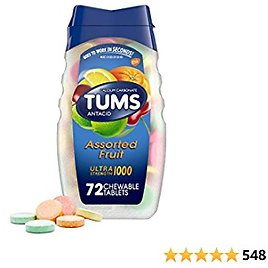 TUMS Ultra Strength Assorted Fruit Antacid Chewable Tablets for Heartburn Relief, 72 Count