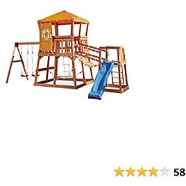 Little Tikes Real Wood Adventures Grizzly Grotto Exclusive Wooden Swing Set and Outdoor Playhouse Backyard Playset with Slide for Kids Playground Activity
