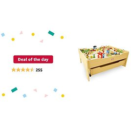 Deal of The Day for Prime Members: Little Tikes Real Wooden Train and Kids Table Set with Over 80 Multicolor Pieces Activity Table with Storage, Tracks, Trains, Cars, and More - Train Set Table Playset for Boys and Girls 3+ Years